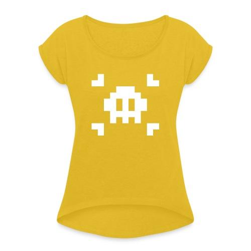 Pixel Skull - T-shirt à manches retroussées Femme