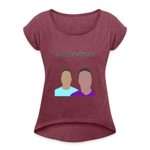 ukkopaita - Naisten T-paita, jossa rullatut hihat