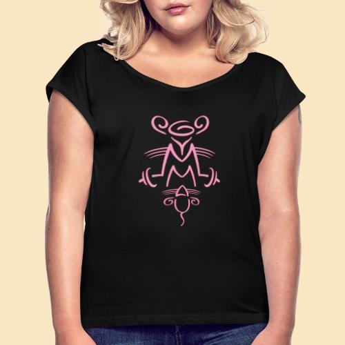 Gymmaus - Frauen T-Shirt mit gerollten Ärmeln
