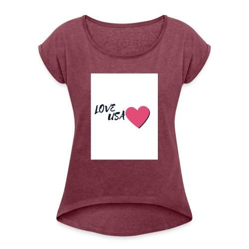 love usa - T-shirt à manches retroussées Femme