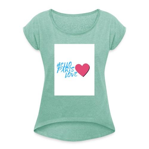 hello paris love bleu - T-shirt à manches retroussées Femme
