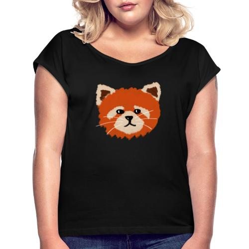Amanda the red panda - Women's T-Shirt with rolled up sleeves