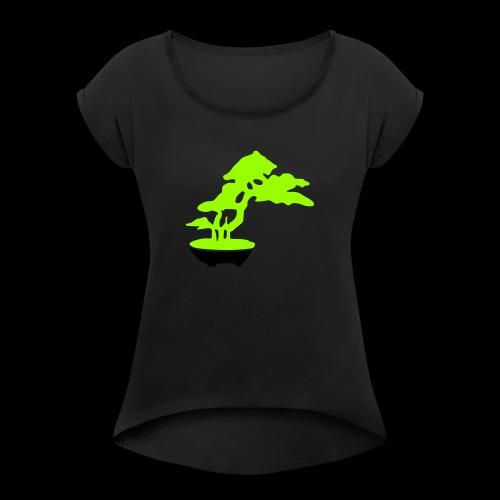 bonsai_baum_2 - Frauen T-Shirt mit gerollten Ärmeln