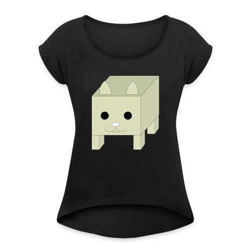 box cat - Vrouwen T-shirt met opgerolde mouwen