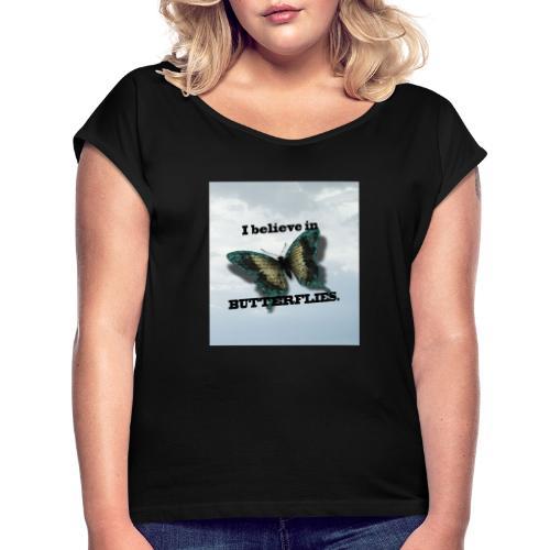 BVJ - Camiseta con manga enrollada mujer