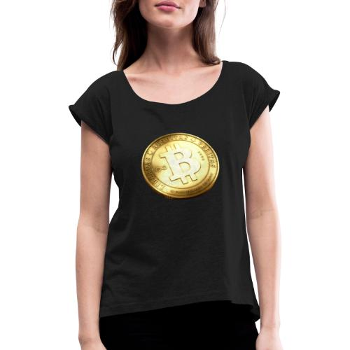 Bitcoin - T-shirt med upprullade ärmar dam