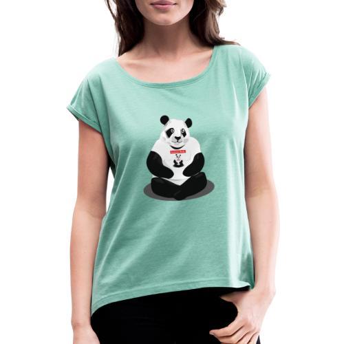 panda hd - T-shirt à manches retroussées Femme