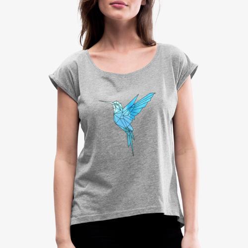 Kolibri Geometrisch - Frauen T-Shirt mit gerollten Ärmeln