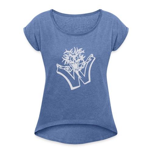 w wahnsinn - Vrouwen T-shirt met opgerolde mouwen