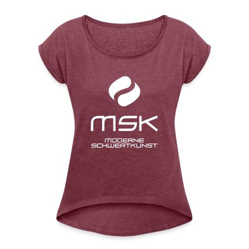 Logo_mit_schrift_2zeilig_ - Frauen T-Shirt mit gerollten Ärmeln