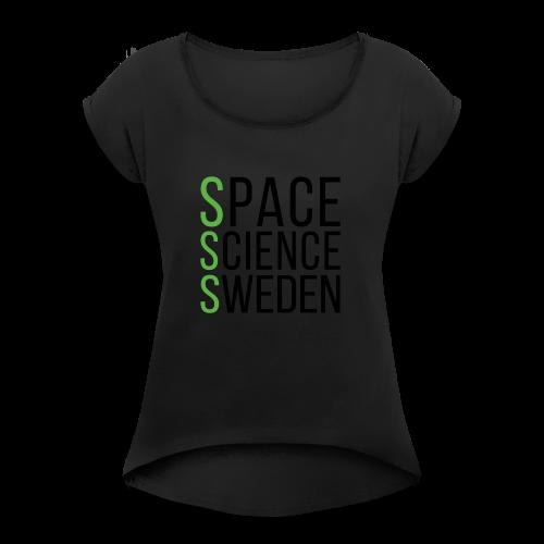 Space Science Sweden - svart - T-shirt med upprullade ärmar dam