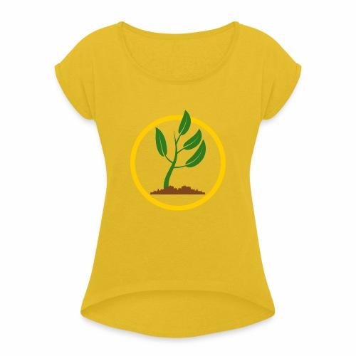 Setzlingemblem - Frauen T-Shirt mit gerollten Ärmeln