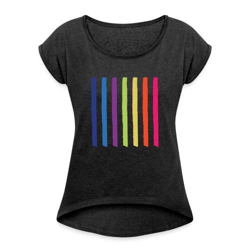 Linjer - Dame T-shirt med rulleærmer