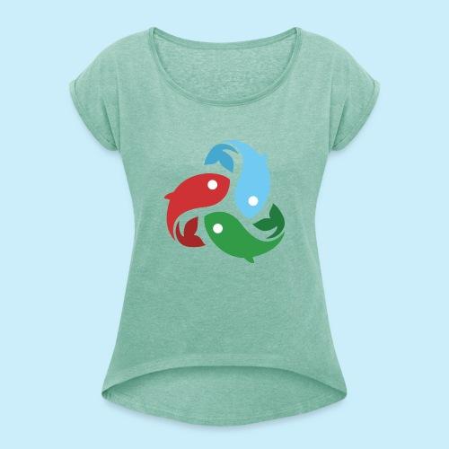 De fiskede fisk - Dame T-shirt med rulleærmer