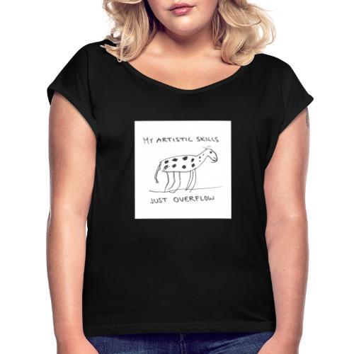 Kaunis lehmä - Naisten T-paita, jossa rullatut hihat