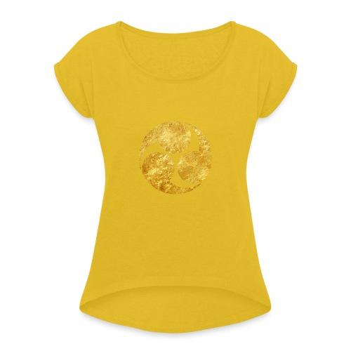 Kobayakawa Mon Japanese clan gold on black - Women's T-Shirt with rolled up sleeves