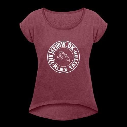 logo hvid png - Dame T-shirt med rulleærmer
