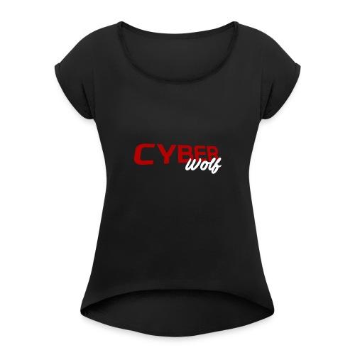 T-shirt Zwart - Vrouwen T-shirt met opgerolde mouwen