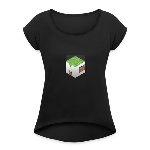 MineCraft 3D - Vrouwen T-shirt met opgerolde mouwen