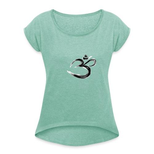 Black OM - T-shirt med upprullade ärmar dam