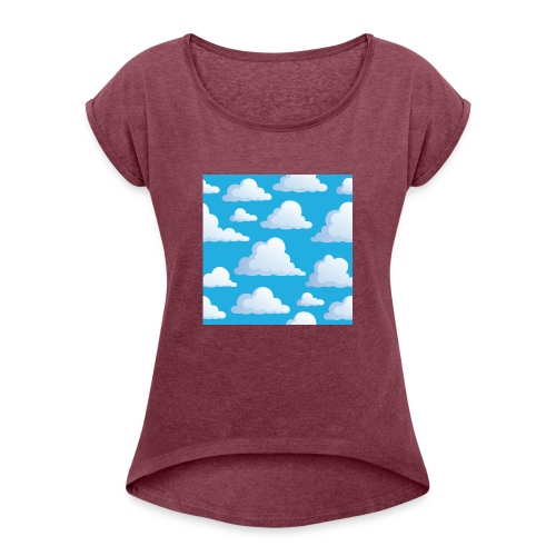 Cartoon_Clouds - Women's T-Shirt with rolled up sleeves