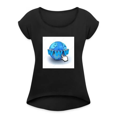14821565-Internet-world-wide-web-concept-Earth-glo - T-shirt med upprullade ärmar dam