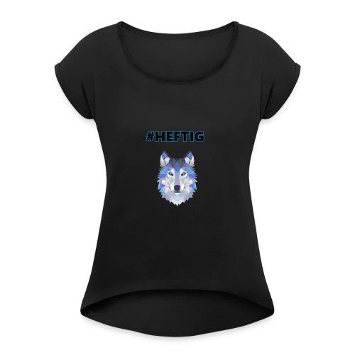 wolf blau - Frauen T-Shirt mit gerollten Ärmeln