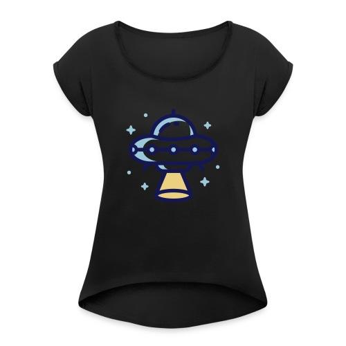 Space Spaceship - Vrouwen T-shirt met opgerolde mouwen