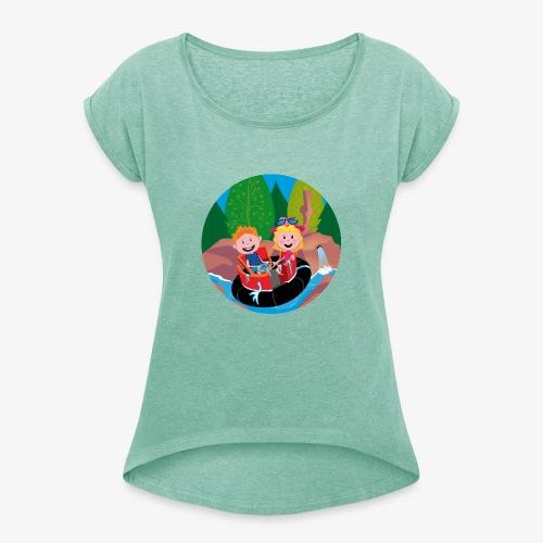 Themepark: Rapids - Vrouwen T-shirt met opgerolde mouwen