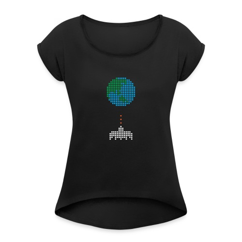 Earth Invaders - Frauen T-Shirt mit gerollten Ärmeln