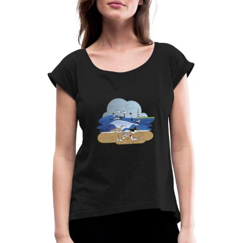 See... birds on the shore - Women's T-Shirt with rolled up sleeves