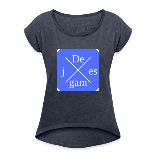 de j games kleren - Vrouwen T-shirt met opgerolde mouwen