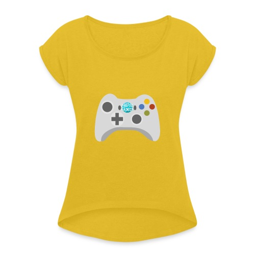 Pause Games Controller Logo - Women's T-Shirt with rolled up sleeves