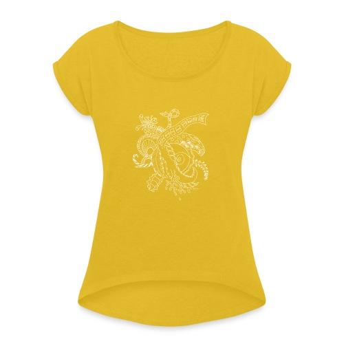 Fantasy hvid scribblesirii - Dame T-shirt med rulleærmer