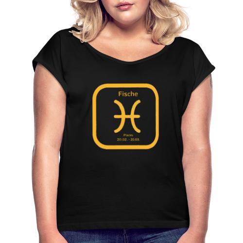 Horoskop fish12 - Koszulka damska z lekko podwiniętymi rękawami