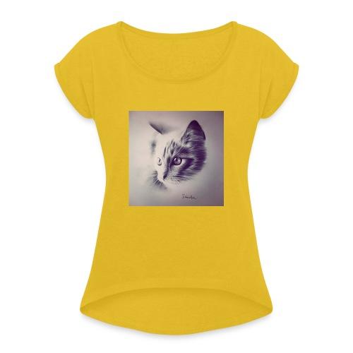 Cat T-shirt - T-shirt à manches retroussées Femme