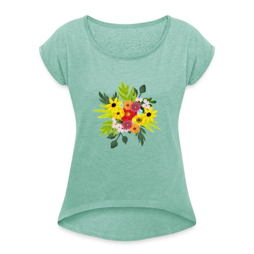 Flower_arragenment - Women's T-Shirt with rolled up sleeves