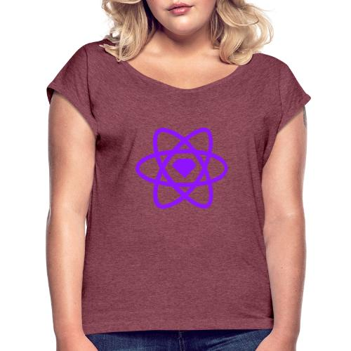 Sketch2React Dark Purple Logo - Women's T-Shirt with rolled up sleeves