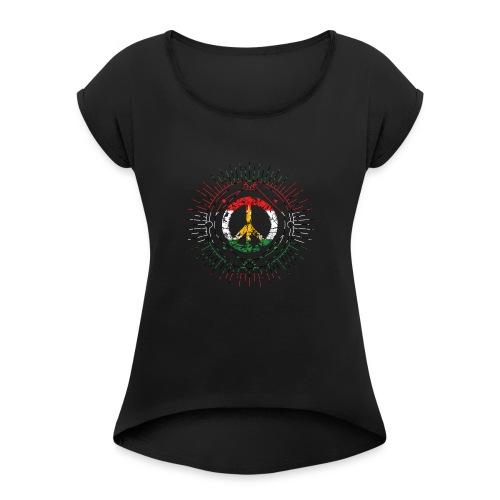 peacex2 - Vrouwen T-shirt met opgerolde mouwen