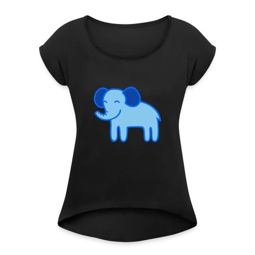 Kinder Comic - Elefant - Frauen T-Shirt mit gerollten Ärmeln
