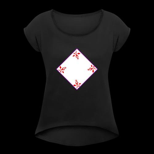 Cooles Blumen Design - Frauen T-Shirt mit gerollten Ärmeln