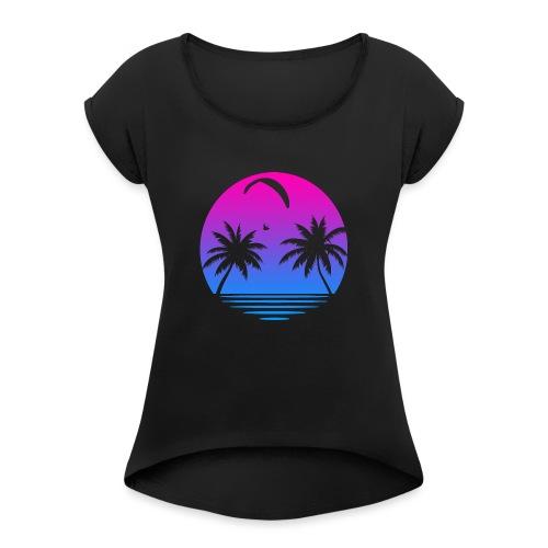 Paragliding Sunset - Frauen T-Shirt mit gerollten Ärmeln