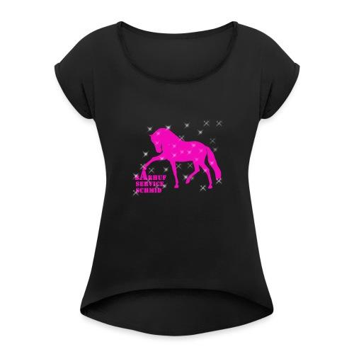 BARHUFSERVICE SCHMID Pink - Frauen T-Shirt mit gerollten Ärmeln