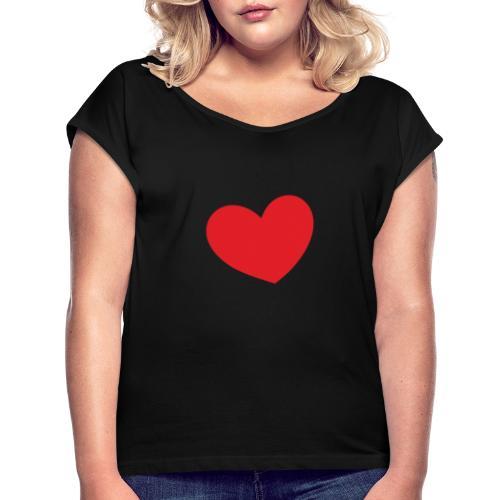 00da4ad5acf86d5f802038c527dbf635 - T-shirt med upprullade ärmar dam