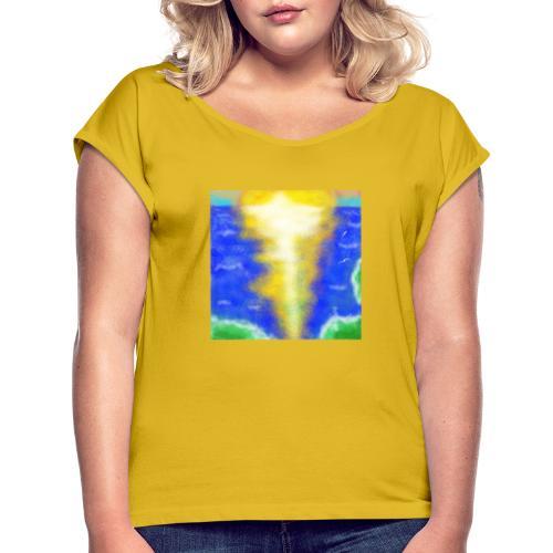 lux semper vincit - Frauen T-Shirt mit gerollten Ärmeln