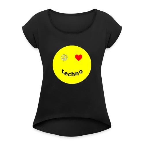 camiseta paz amor techno - Camiseta con manga enrollada mujer