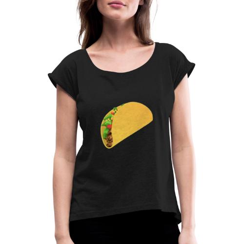 taco - T-shirt med upprullade ärmar dam