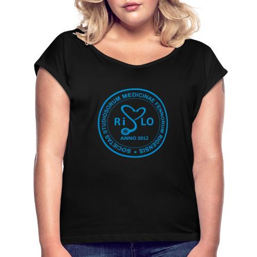 Rislo Logo - sisäiseen käyttöön - Naisten T-paita, jossa rullatut hihat