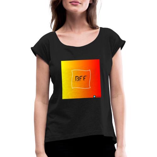 bff rainbow - T-shirt med upprullade ärmar dam