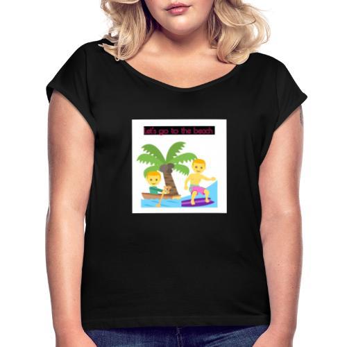 beach - T-shirt med upprullade ärmar dam